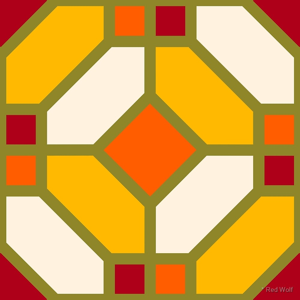 Geometric Pattern: Art Deco Tile: Sunset by * Red Wolf