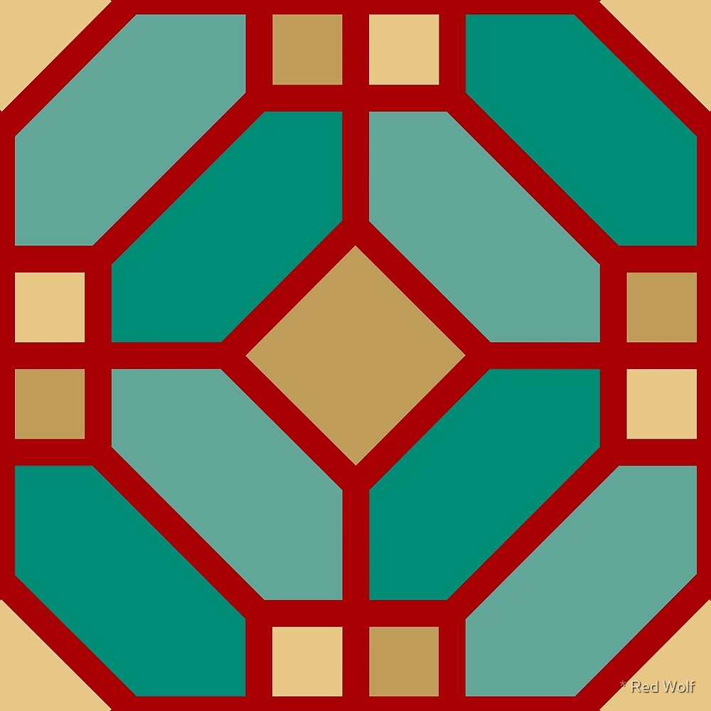 Geometric Pattern: Art Deco Tile: Turquoise by * Red Wolf