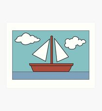 Simpsons Sailboat Painting Art Print