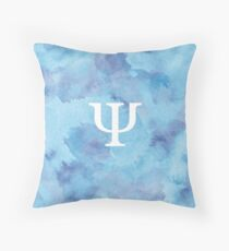 Sapphire Watercolor Ψ Throw Pillow