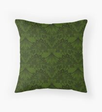 Stegosaurus Lace - Green Throw Pillow