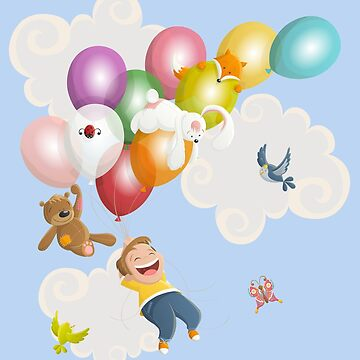 Cartoon boy flying with balloons and friends by creaschon