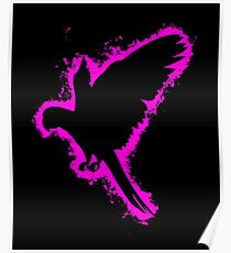 Silhouette parrot pink and black silhouette Poster