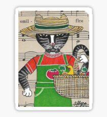 2018 Tabby Cat Vegetable Gardener by BRIDEOFHYDE Sticker