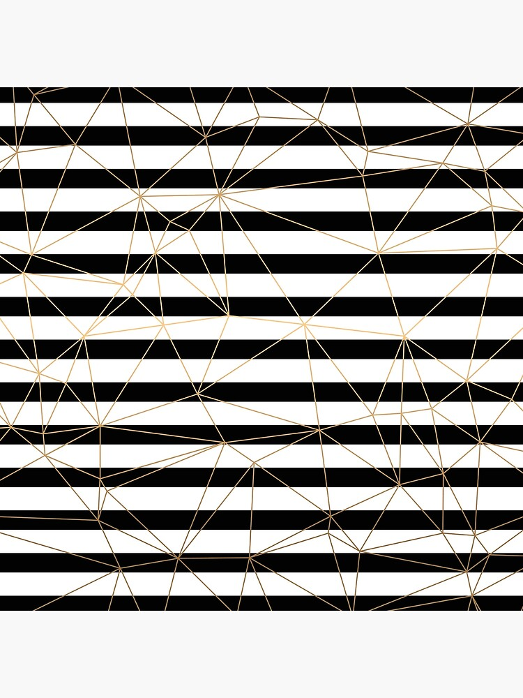 Gold Geometric Pattern Black and White Stripes by AboutMoments