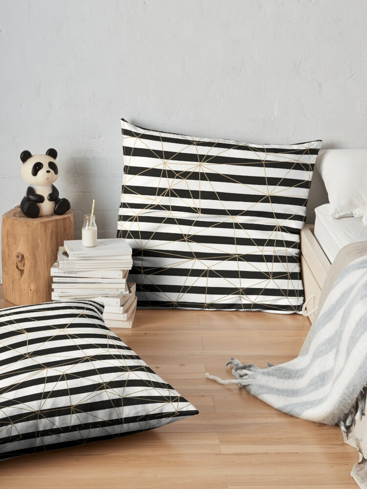 Alternate view of Gold Geometric Pattern Black and White Stripes Floor Pillow