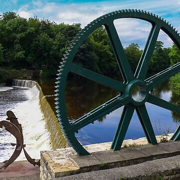'Spawning Salmon' and the old mill wheel at Wetherby by AnnaMyerscough