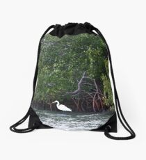 Great Egret Drawstring Bag