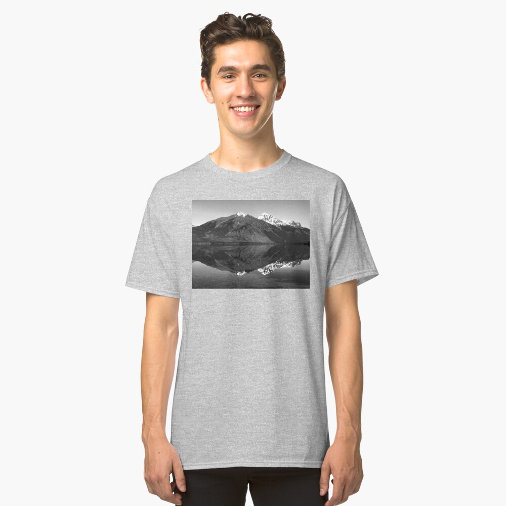 Mirror Reflection in Lake McDonald ~ Black & White Classic T-Shirt Front