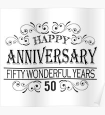 Happy 50Th Wedding Anniversary | 50th Wedding Anniversary Posters Redbubble