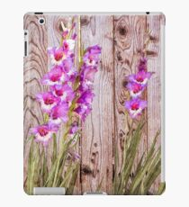 Pink Gladiolus flowers blooming by wood fence in backyard garden during summer oil painting iPad Case/Skin