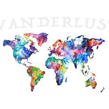 Watercolor Wanderlust World Map by Carlynn