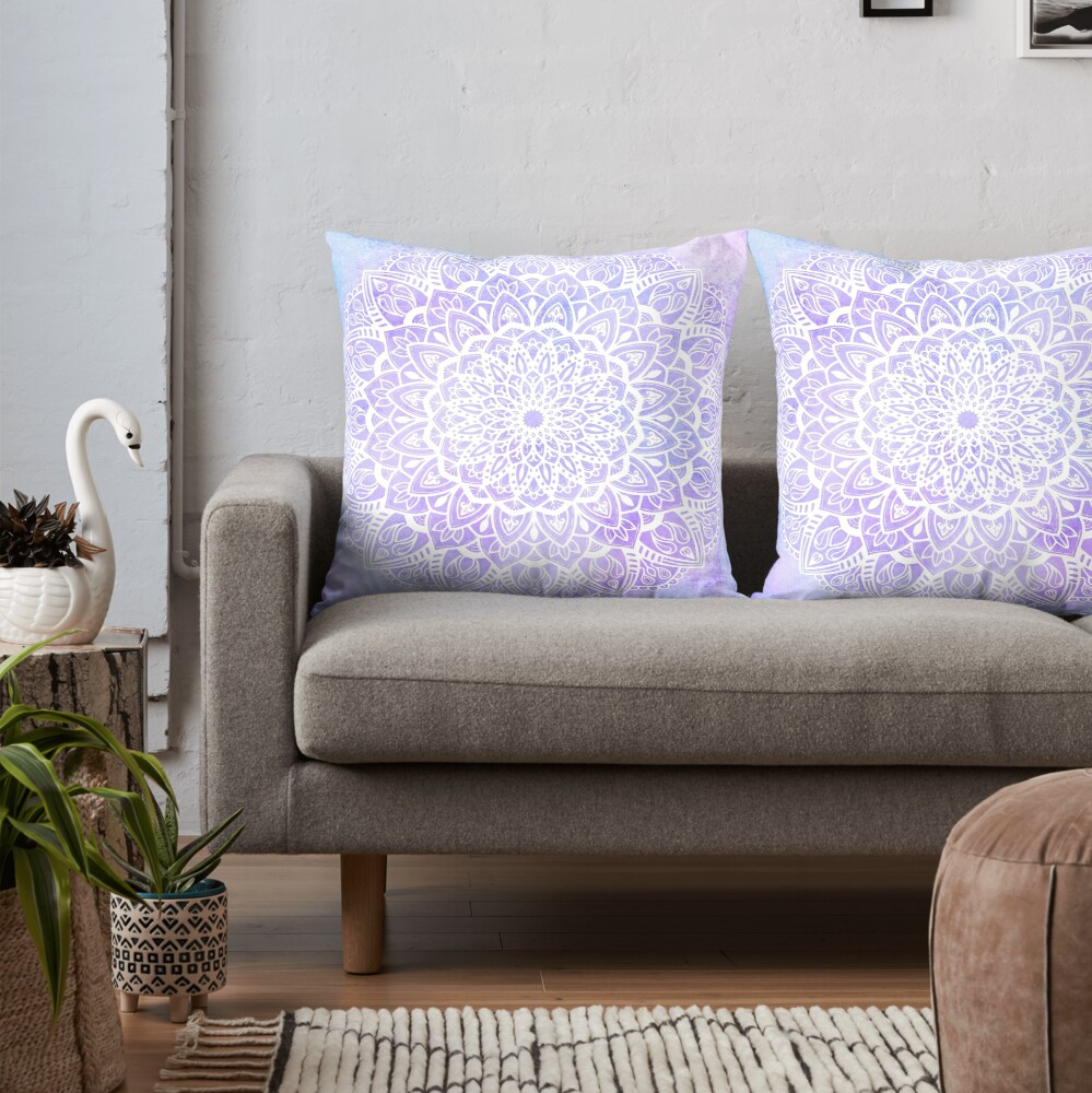 White Mandala on Pastel Purple and Blue Textured Background Throw Pillow
