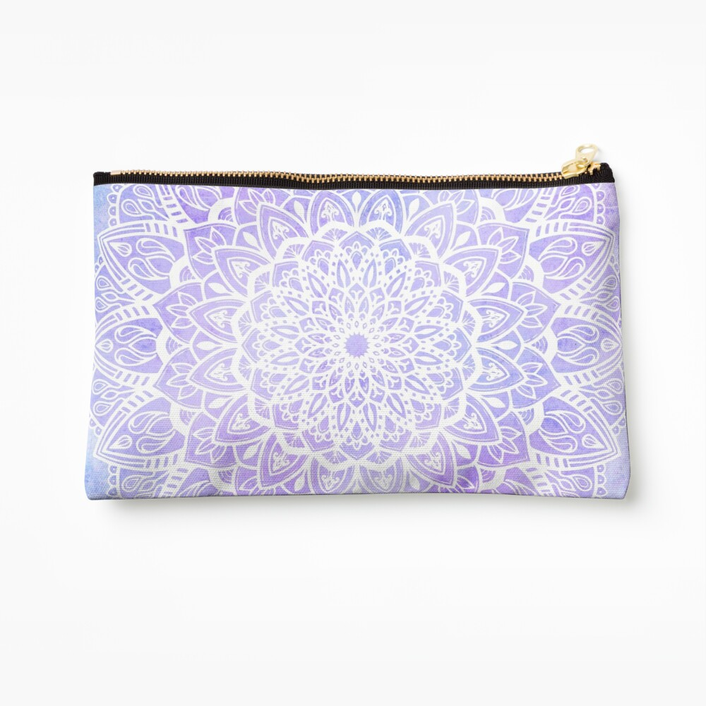White Mandala on Pastel Purple and Blue Textured Background Zipper Pouch