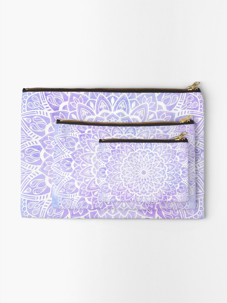 Alternate view of White Mandala on Pastel Purple and Blue Textured Background Zipper Pouch
