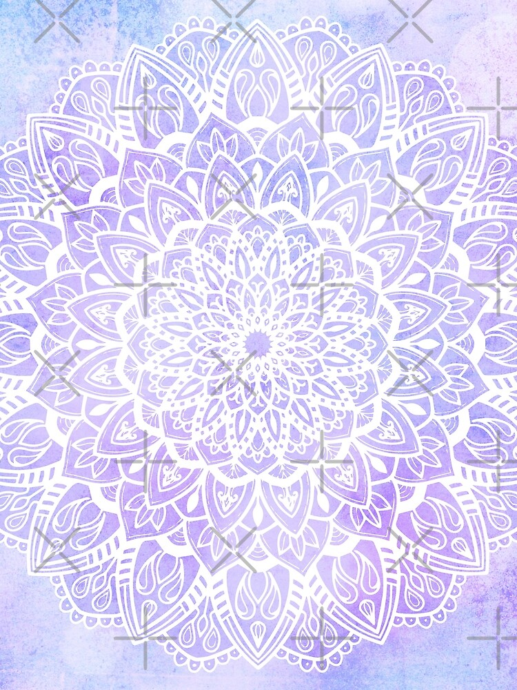 White Mandala on Pastel Purple and Blue Textured Background by kellydietrich