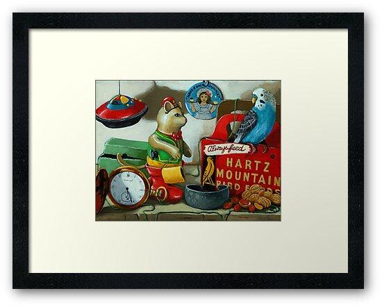 Here Birdie, Birdie - still life painting by LindaAppleArt