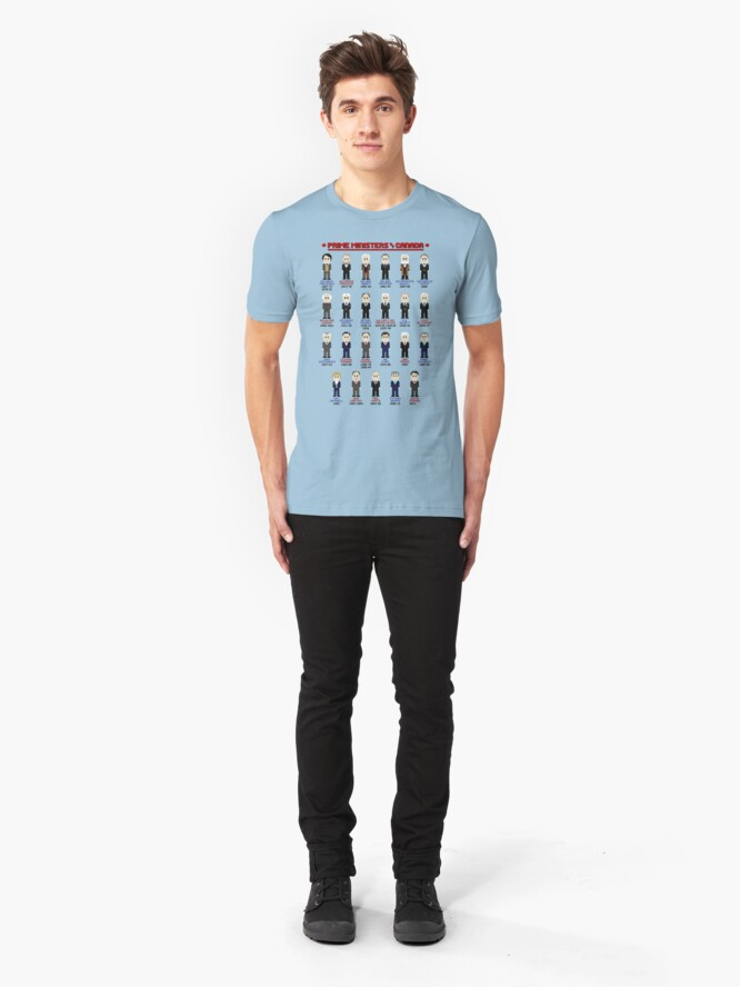 Alternate view of 8-Bit Prime Ministers of Canada! Slim Fit T-Shirt