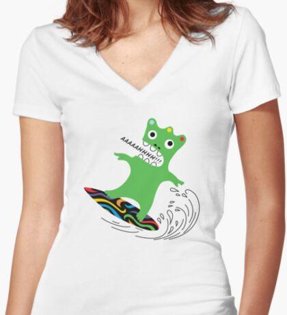 Critter Surf   Women's Fitted V-Neck T-Shirt