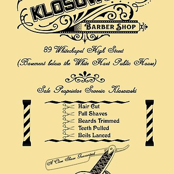Vintage Barber Shop - Black Print by theheadshed