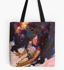 girl and stars Tote Bag