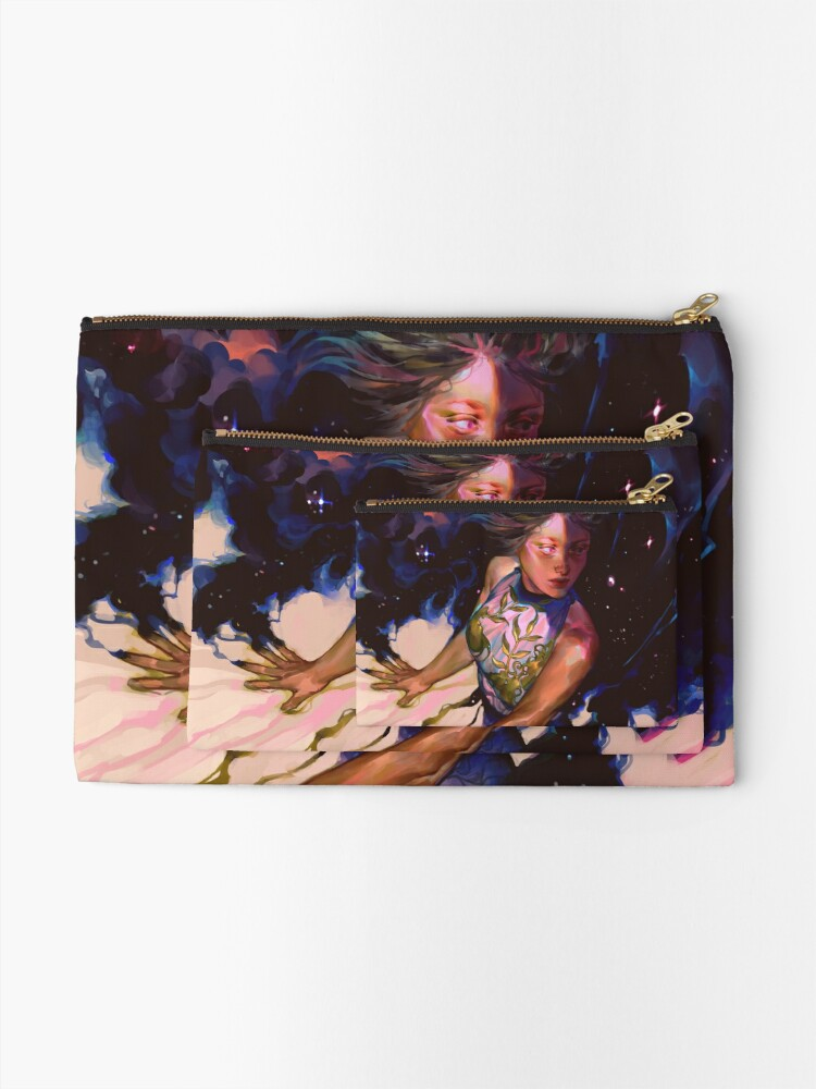 Alternate view of girl and stars Zipper Pouch
