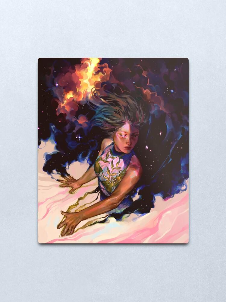 Alternate view of girl and stars Metal Print