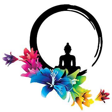 Zen Rainbow Flower Buddha Circle of Life by Carlynn