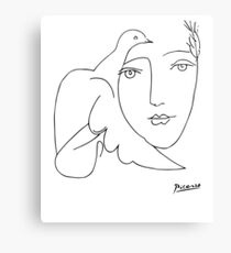Pablo Picasso Peace (Dove and Face) T Shirt, Sketch Artwork Canvas Print