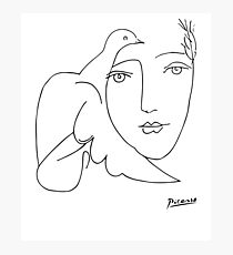 Pablo Picasso Peace (Dove and Face) T Shirt, Sketch Artwork Photographic Print