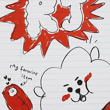 BTS - BT21 - RJ doodle note by Red-One48