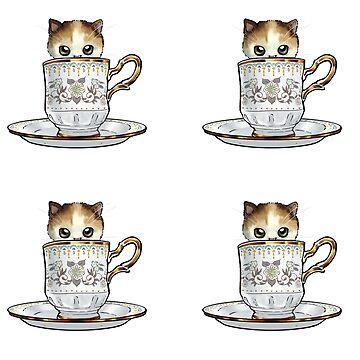 Kitten in a Tea Cup Sticker Set by ninniku