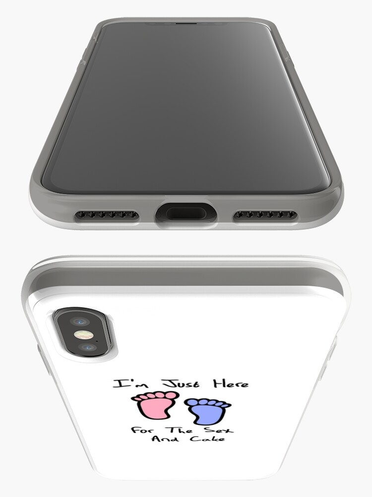 Alternate view of I'm just here for the sex and cake loves you gender reveal party gift idea iPhone Case & Cover