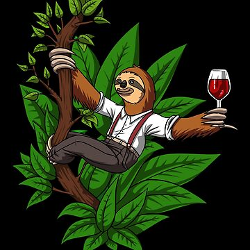Funny Sloth Wine Drinking Animal by underheaven