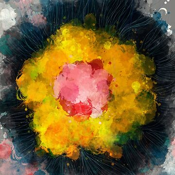 Zen Abstract Flower with Colors Drops by signorino