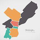 Philadelphia Map mit Bezirken und modernen runden Formen von Ingo Menhard
