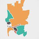 San Diego Karte mit Bezirken und modernen runden Formen von Ingo Menhard