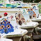 Trumpet Player on the Wavy Bench in Barcelona by Alison Cornford-Matheson