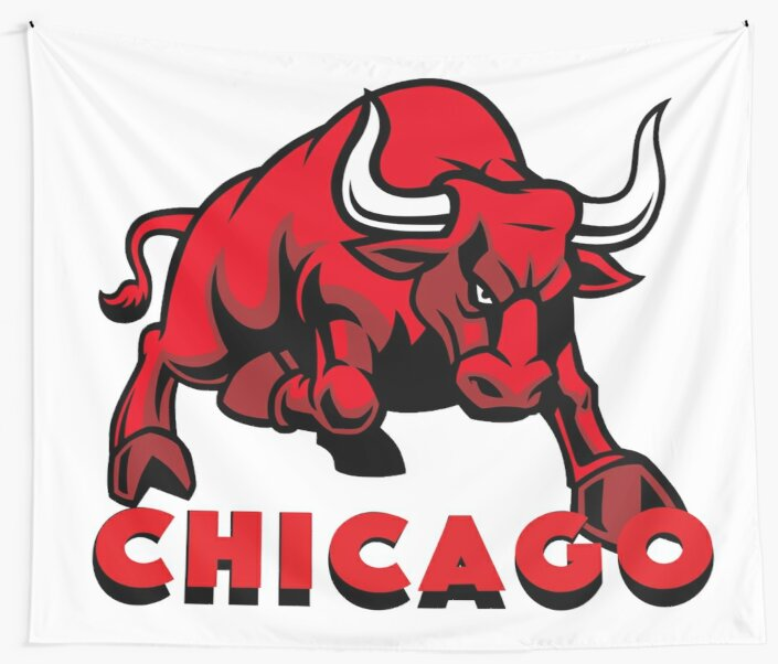 chicago bulls logo wall tapestries by joellyolly redbubble