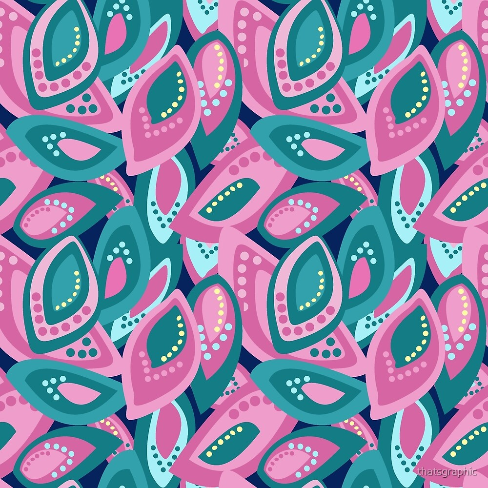 Funky pink green and navy stylised dotted leaves by thatsgraphic
