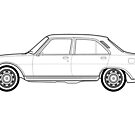 Peugeot 504 Classic Car Outline Artwork by RJWautographics