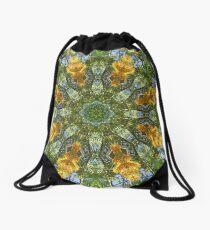 Yellow Tree Flower Kaleidoscope Art 6 Drawstring Bag