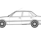 Peugeot 505 GTI Turbo Classic Car Outline Artwork by RJWautographics