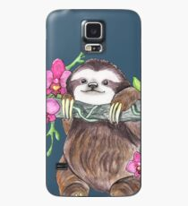 Happy Sloth with orchids Case/Skin for Samsung Galaxy