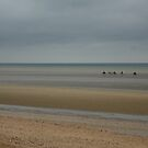 Horse riders on Utah Beach, Normandy, Photograph by Vic Potter by Vic Potter