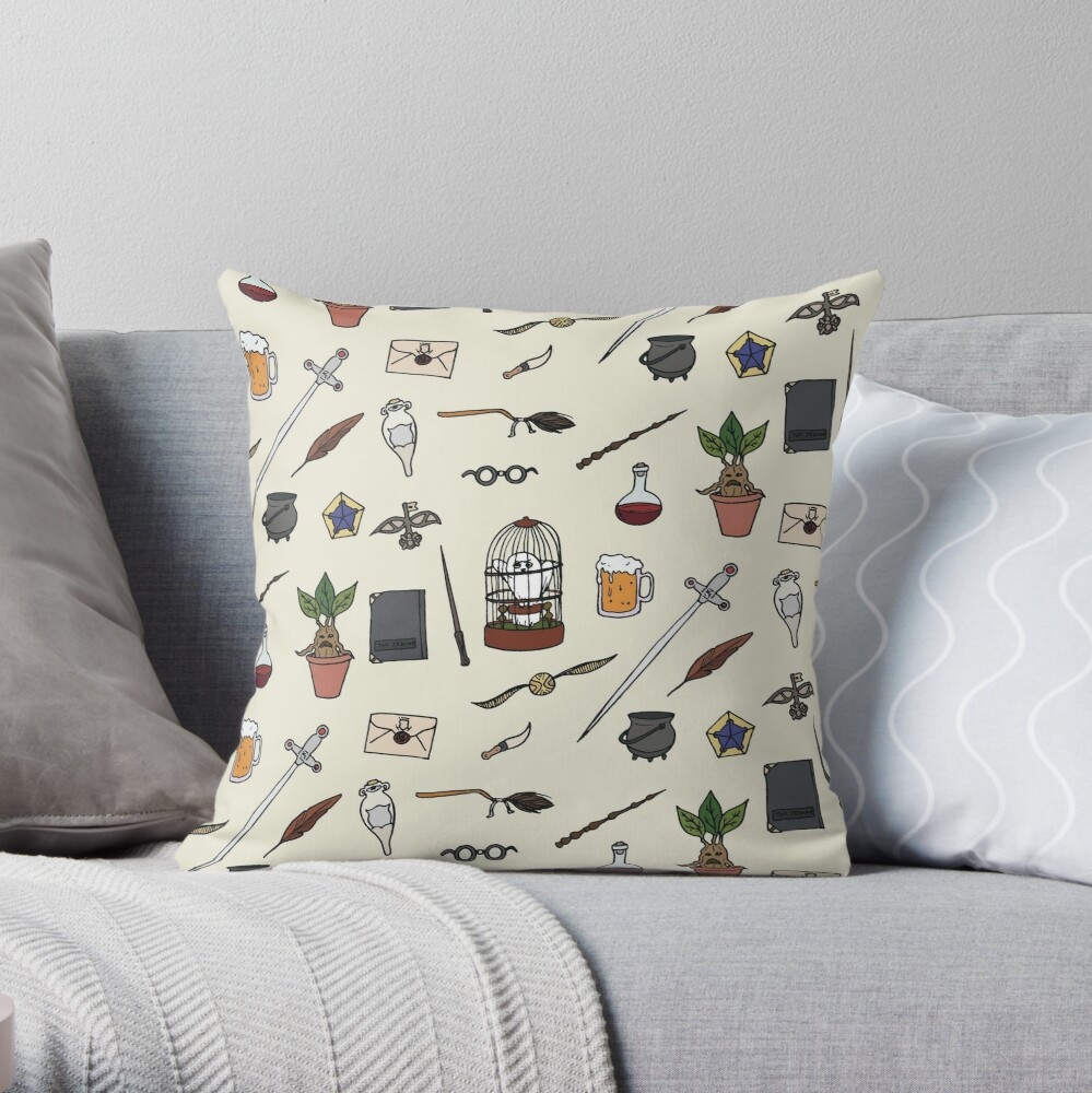 Owl and wand Throw Pillow