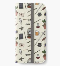 Eule und Zauberstab iPhone Flip-Case/Hülle/Klebefolie