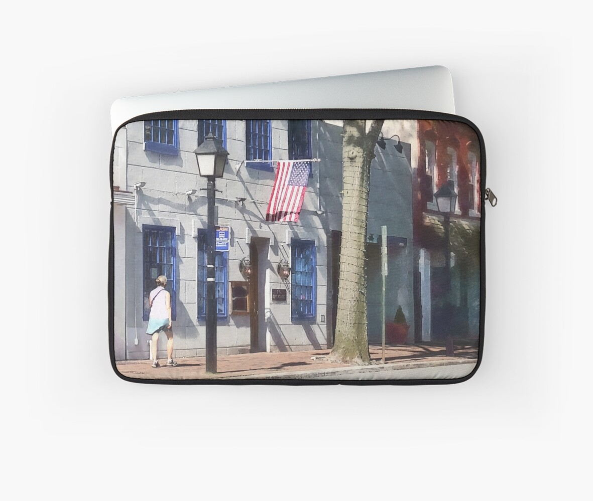 Street With American Flag Alexandria VA by Susan Savad
