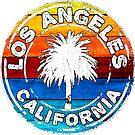 Los Angeles California Palm Tree Colorful Rainbow by MyHandmadeSigns
