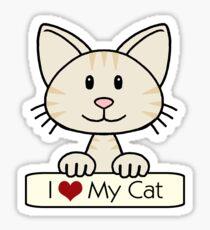 Cream Striped Cat - I Love My Cat Sticker